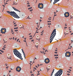 Beautiful birds and flower berries pattern vector
