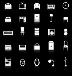 Bedroom icons with reflect on black background vector