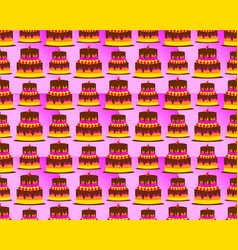 birthday pattern background shaped tart cake vector image