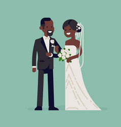 Black bride and groom characters vector