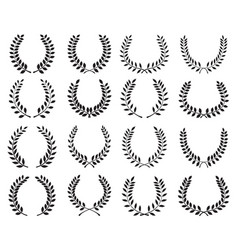 black silhouettes laurel wreaths vector image