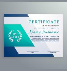 Blue certificate design template in geometric vector