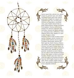 boho dream catcher in ethnic style design vector image