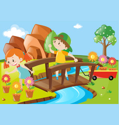 boy and girl in garden vector image