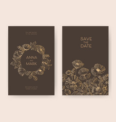 Bundle of floral save the date card and wedding vector