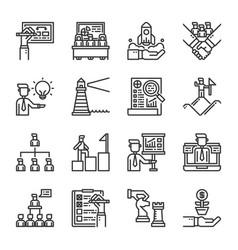 business management icon set vector image