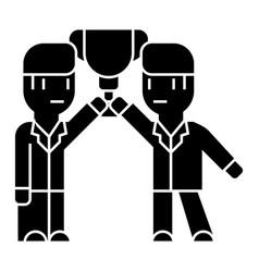 business team achievement goals - winners icon vector image