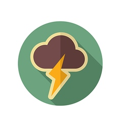 Cloud lightning retro flat icon weather vector