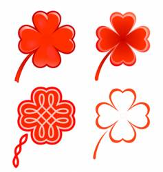 clovers and hearts vector image vector image
