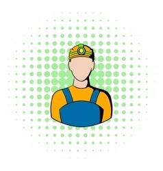 Coal miner icon comics style vector image