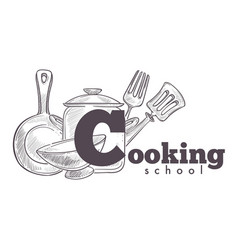 cooking school vintage hand drawn sketch logo with vector image