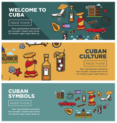 Cuban culture and symbols promotional internet vector