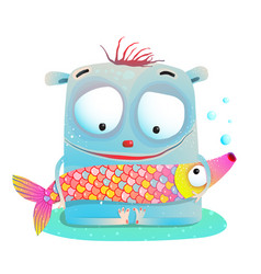 Cute kids monster holding fish vector