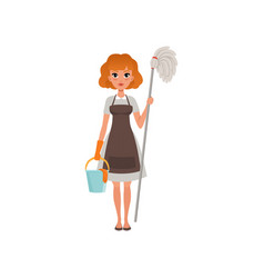 cute red-haired woman standing and holding mop and vector image