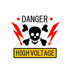 danger symbol high voltage sign skull lightning vector image