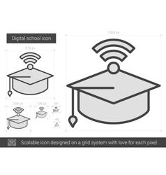 Digital school line icon vector