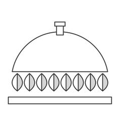 Dish tray with leaves icon vector