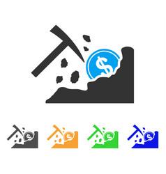 Dollar mining hammer icon vector