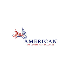 eagle with american national flag logo design vector image