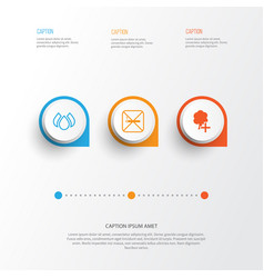Ecology icons set collection aqua insert vector