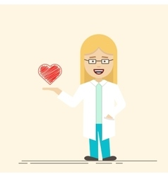 Female doctor or nurse with heart in her hand vector