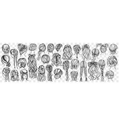 Female hairstyle hand drawn doodle set vector