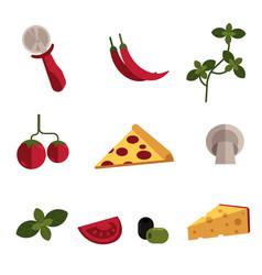 flat pizza ingredients icon set vector image