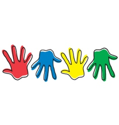 Four colored hands vector image