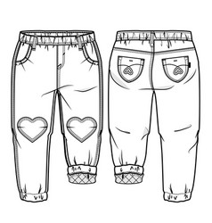 Front and back sides of baby pants vector