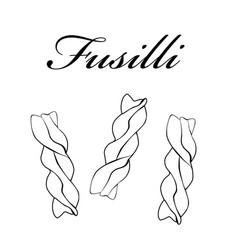 fusilli pasta authentic italian pasta hand drawn vector image