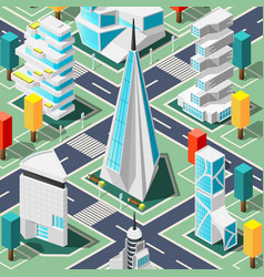 Futuristic architecture isometric background vector