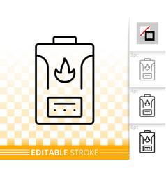 Gas boiler simple black line icon vector