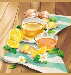 Ginger tea composition on wooden background vector