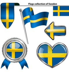 Glossy icons with Swedish flag vector