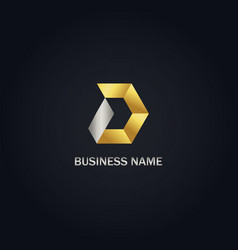 gold polygon d initial company logo vector image