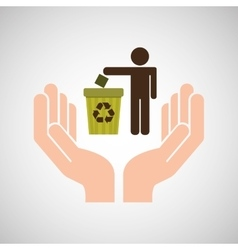 Hands care environment recycle trash vector
