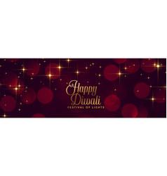 happy diwali shiny sparkles festival banner design vector image