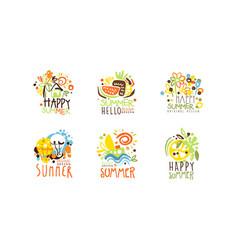 happy summer logo original design collection vector image
