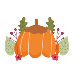 happy thanksgiving day pumpkin flowers leaf vector image