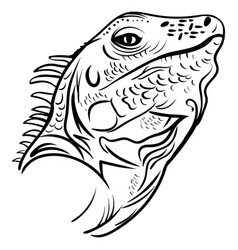 Head iguana profile sketch tattoo vector