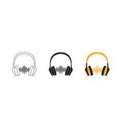 headphones set three options icon editable vector image
