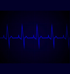 heart rate heartbeat neon line blue graphic vector image