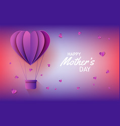 hot air balloon in form of heart in paper art on vector image