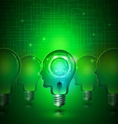 Human Head Light Bulbs with Technology Background vector