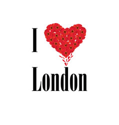 I love london lettering with heart shape flower vector