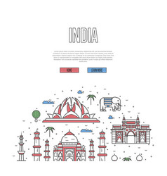 India travel tour poster in linear style vector