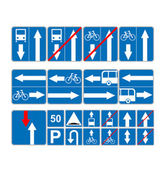 Informational road blue symbols set vector