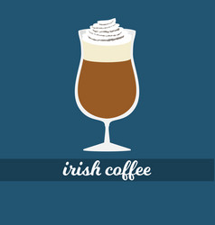 Irish coffee cup with whipped cream vector