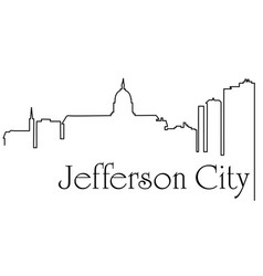 jefferson city city one line drawing vector image