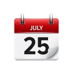 July 25 flat daily calendar icon Date vector
